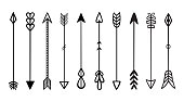 Doodles arrows. Set of black hipster hand drawn tribal vector elements. For print, poster, greeting card