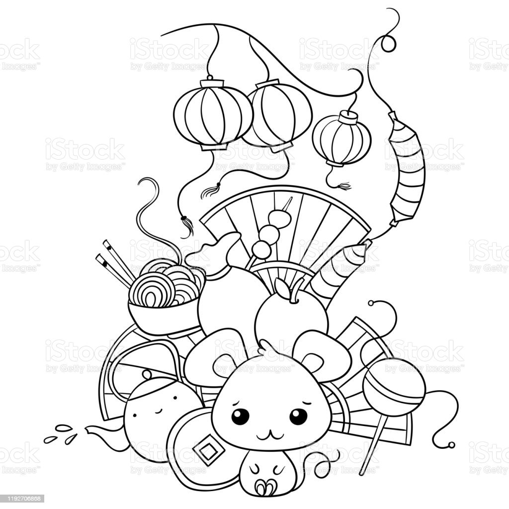 Doodles Art With Chinese New Year Decorations And Kawaii ...