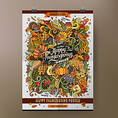 Doodles cartoon colorful Happy Thanksgiving hand drawn plackard