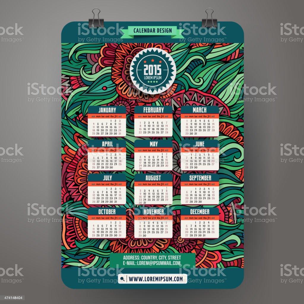 Garabatos flores de historieta calendario 2015 - ilustración de arte vectorial