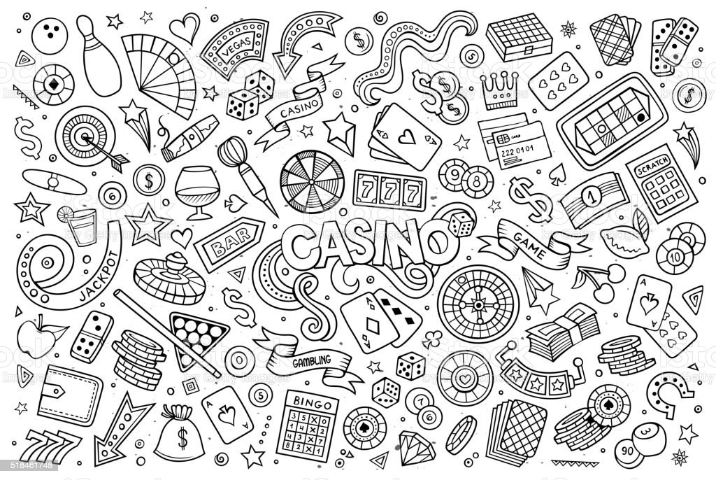 Doodles cartoon set of Casino objects vector art illustration