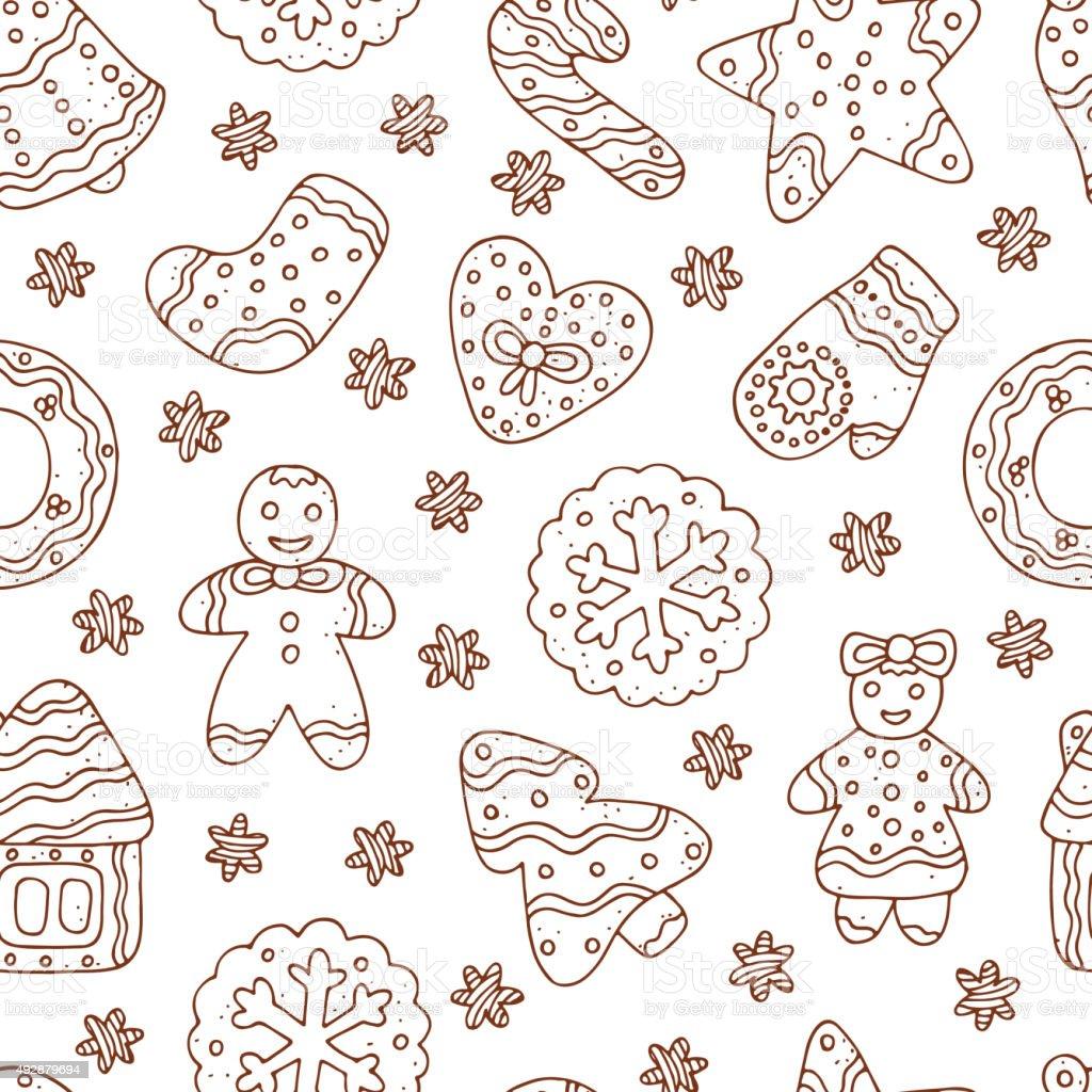Ilustración de Garabatos De Navidad Cookies Pan De Jengibrevector ...