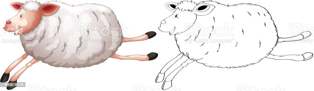 Doodles drafting animal for sheep vector art illustration