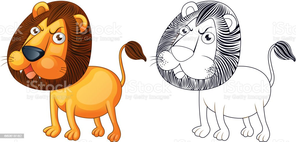 Doodles drafting animal for wild lion vector art illustration