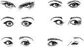 Doodles of expressive eyes.