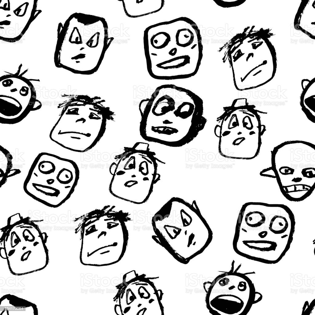 Doodles faces pattern royalty-free doodles faces pattern stock vector art & more images of adult