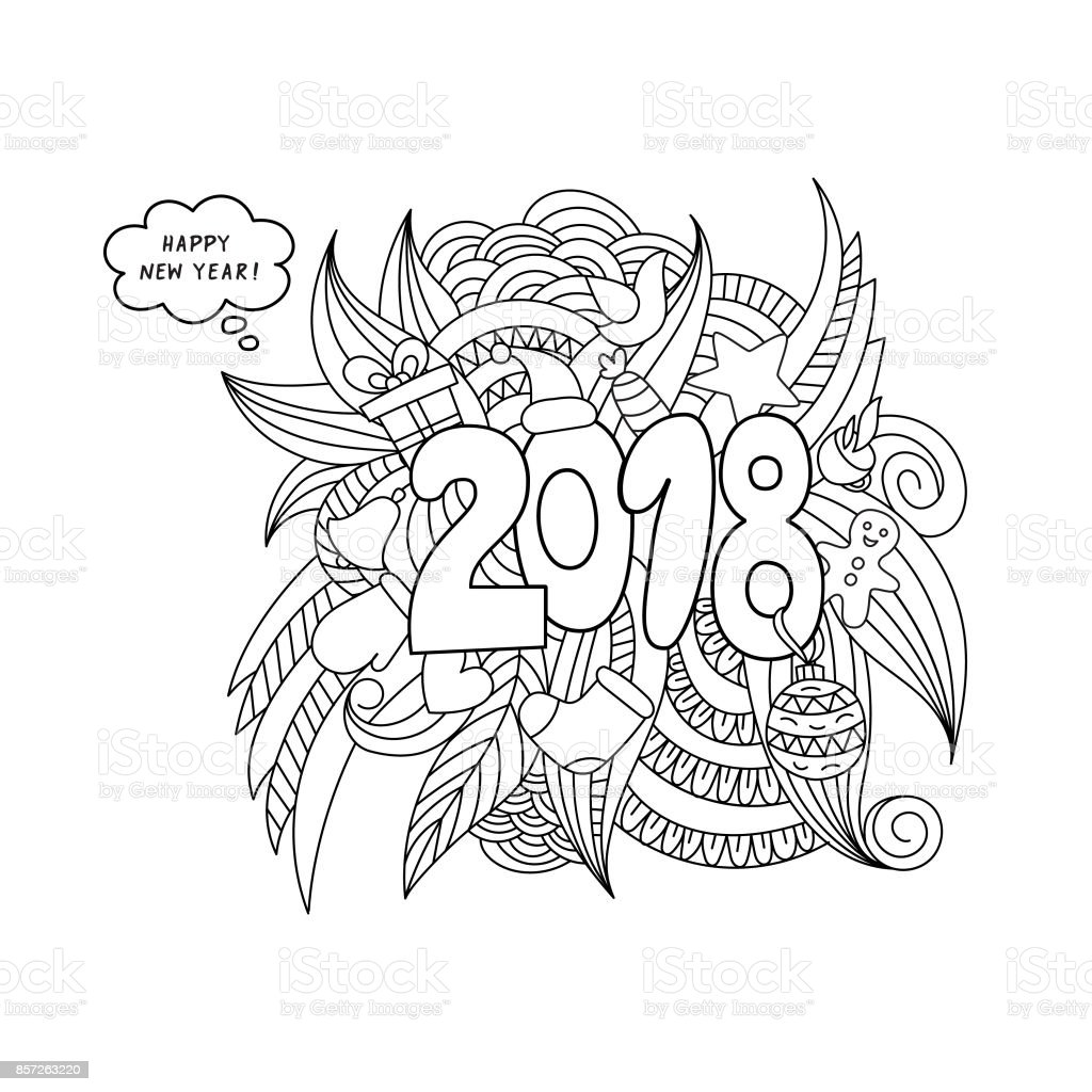 Karalamalar çizilmiş 2018 Yıl Illüstrasyon Ver Yeni Yıl Tema öğeleri