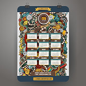 Doodles hand drawn colorful cartoon cinema Calendar 2016 year design, English, Sunday start.