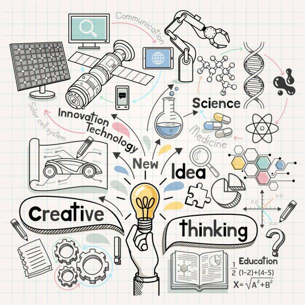 doodles konzeptionelle idee diagramm. - naturwissenschaftsunterricht stock-grafiken, -clipart, -cartoons und -symbole