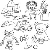 Sketch drawing of toys.