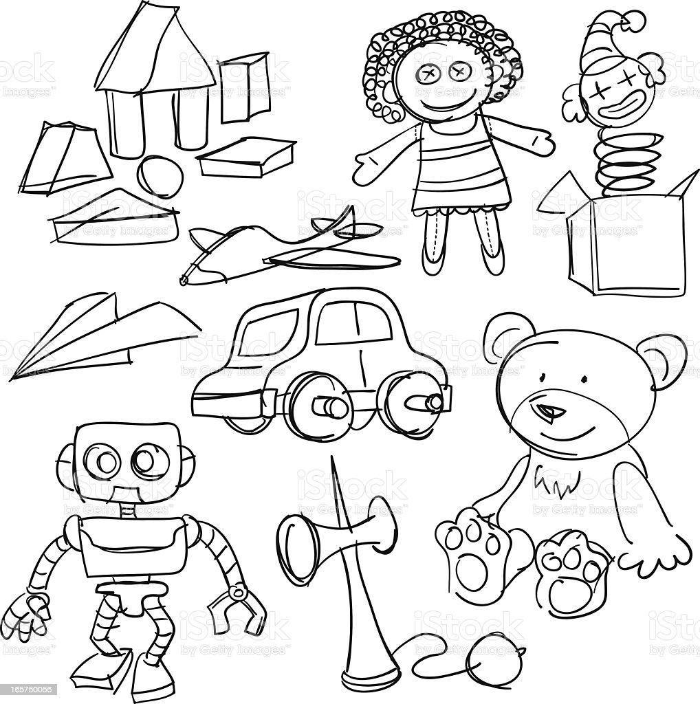 Coleção de brinquedos a preto e branco - ilustração de arte vetorial