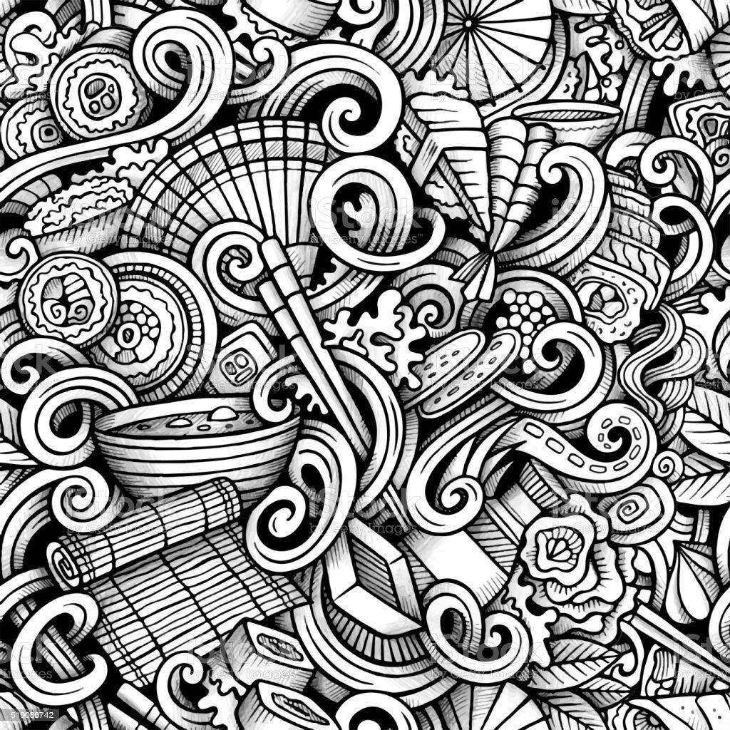 cuisine japonaise motif uniforme et crayonnages - Illustration vectorielle