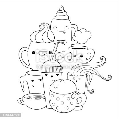 Cute cat inside a coffee cup. Easy  to change color. Doodle art for coloring, print.