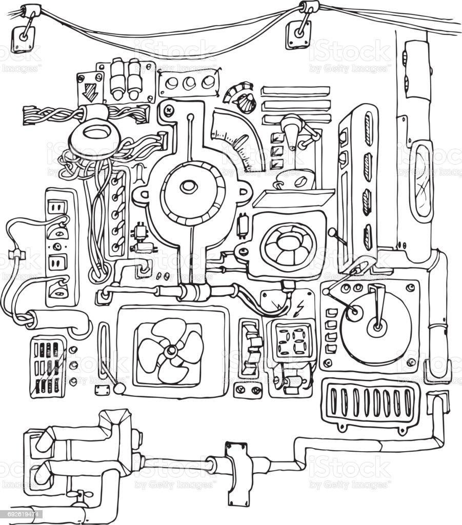 ilustração de mecânico de máquina contorno desenhado à mão sobre um