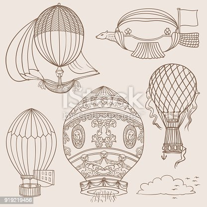 istock Doodles of Ancient Hot Ballons 919219456