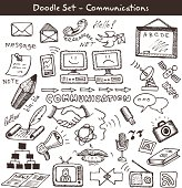 Doodles of communication icons