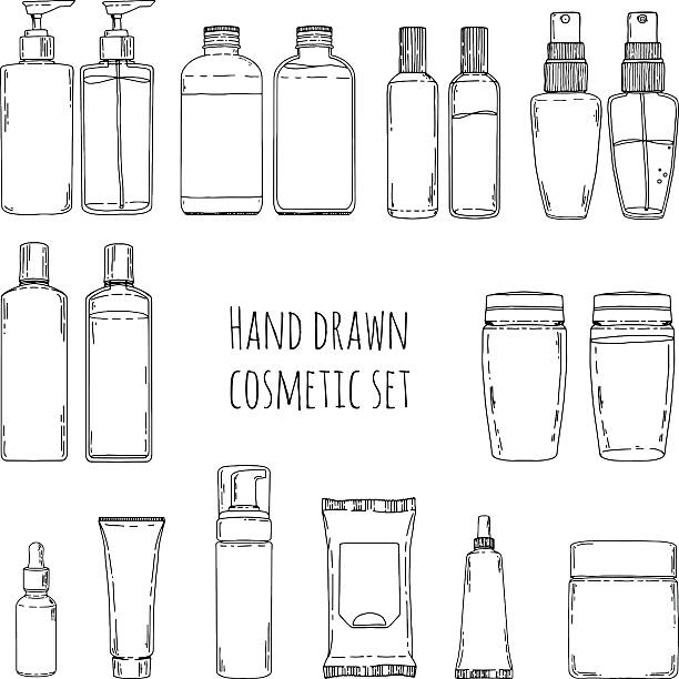 doodles of cosmetic bottles and cosmetic package. - shampoos stock-grafiken, -clipart, -cartoons und -symbole