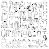 Vector set with hand drawn doodles of fashionable Women clothes and accessories, hand drawn doodle collection. Sketches for use in design