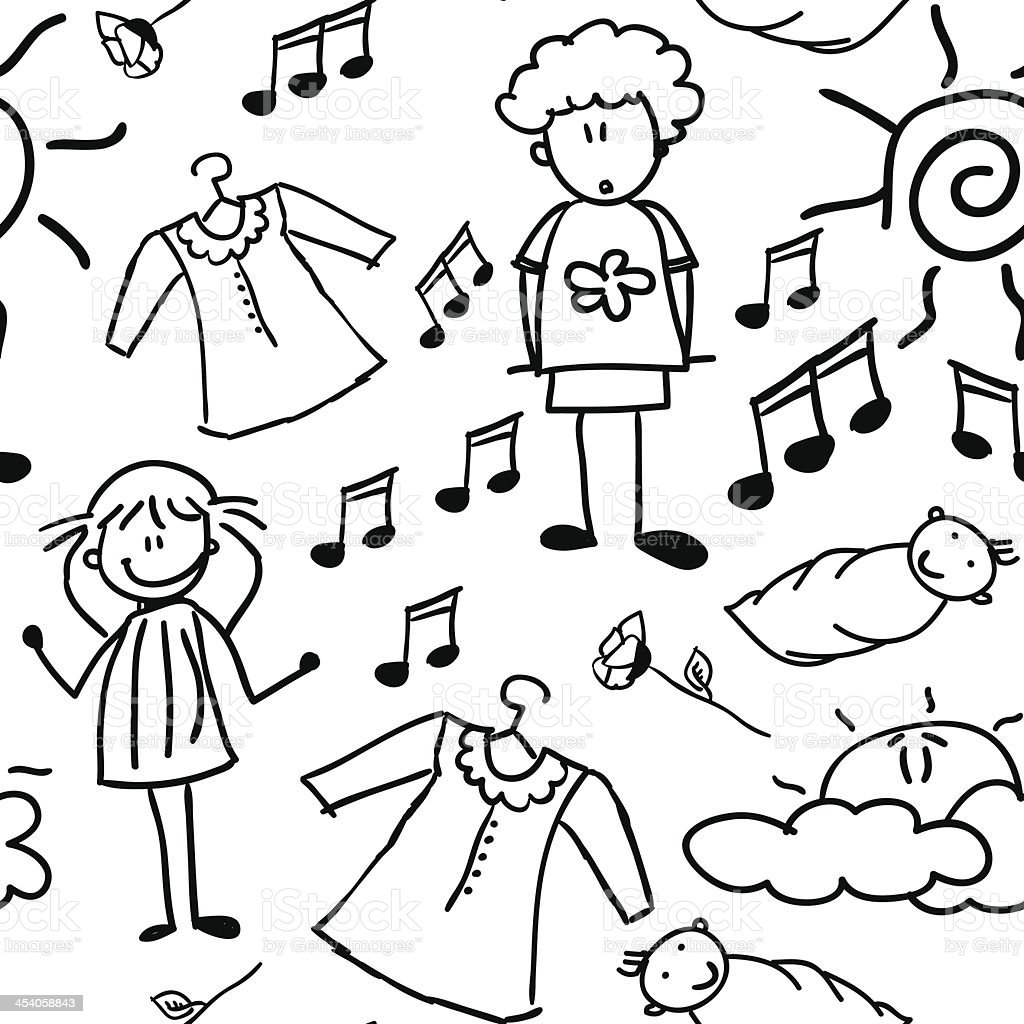 Doodles of happy family (seamless pattern) royalty-free stock vector art