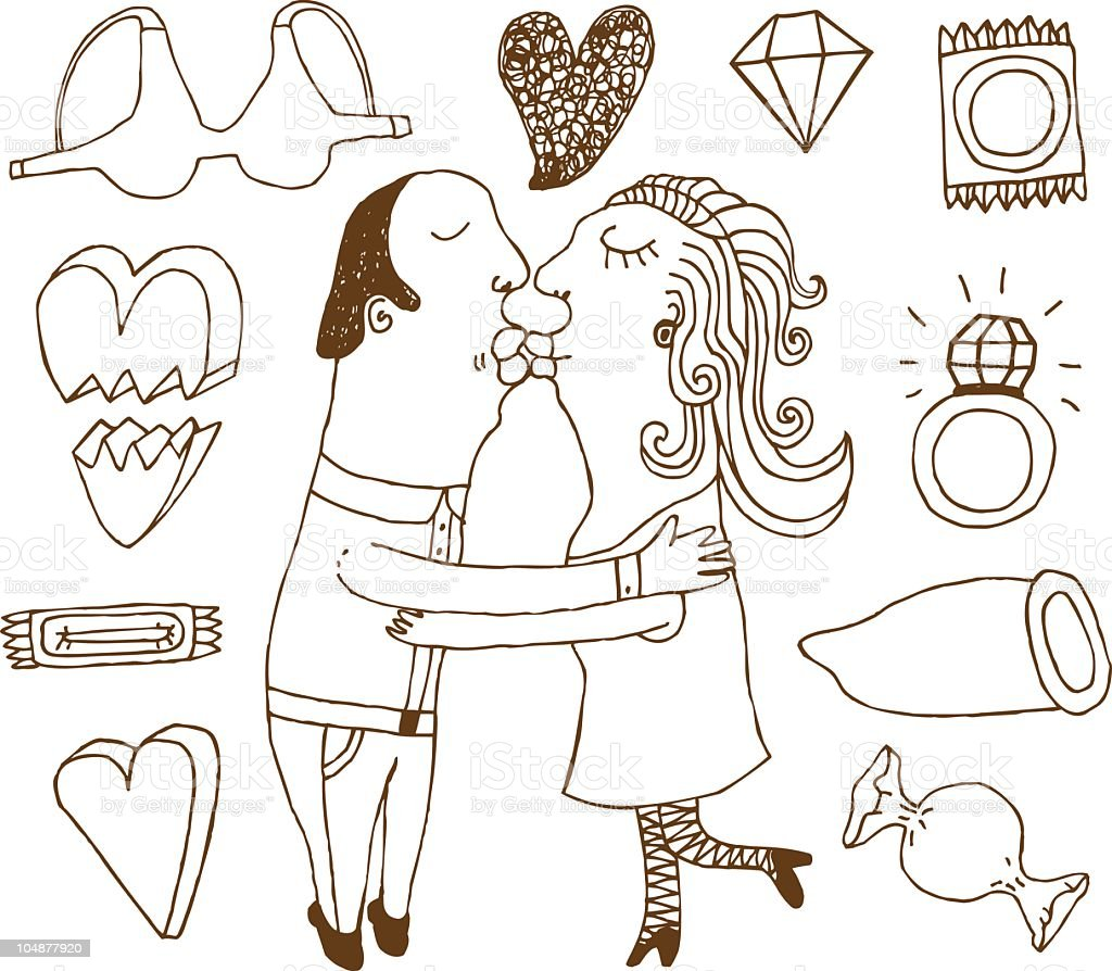 Doodles of love things royalty-free stock vector art