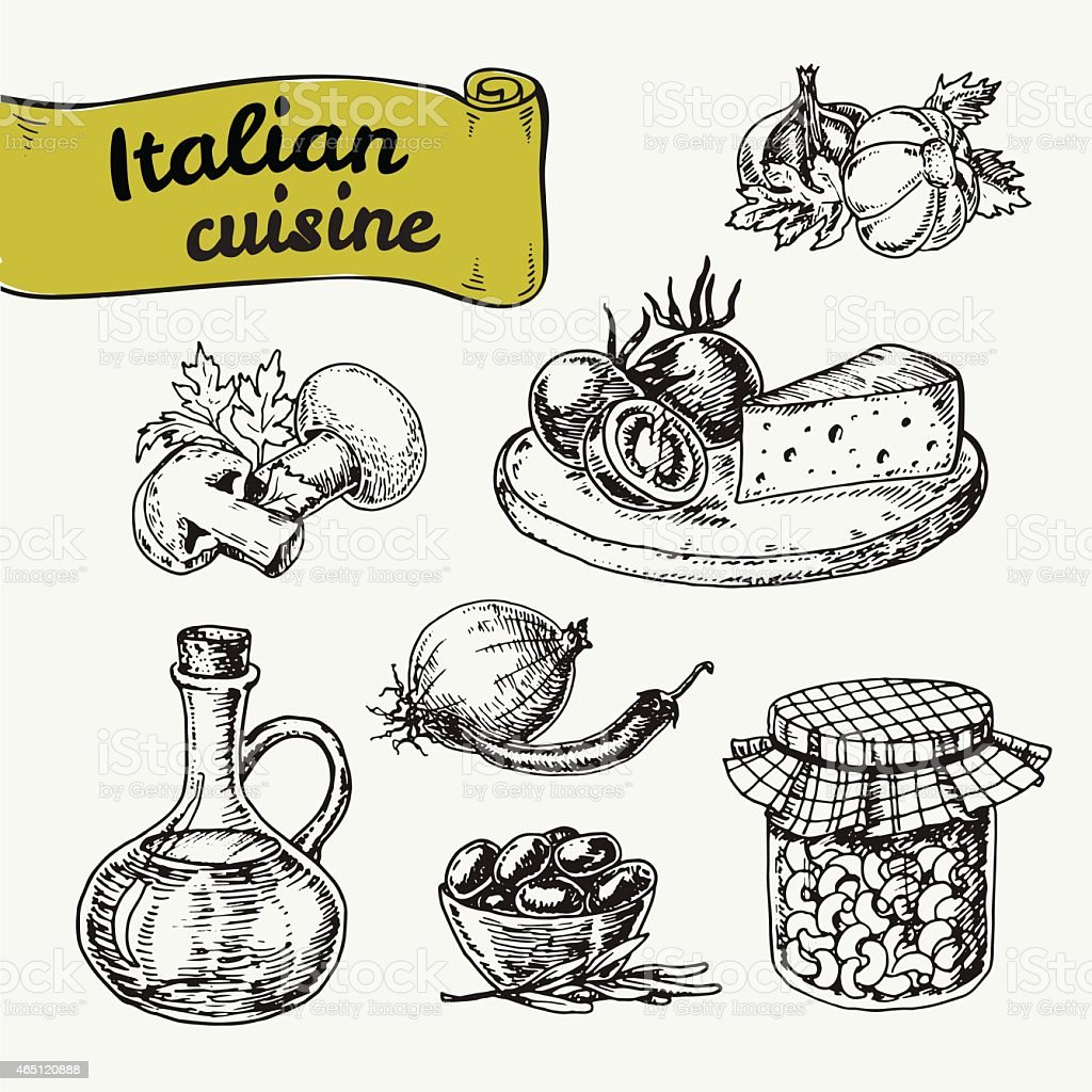 Doodles of national Italian food vector art illustration