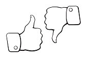 Doodles of thumb up and thumb down symbols of like and dislike