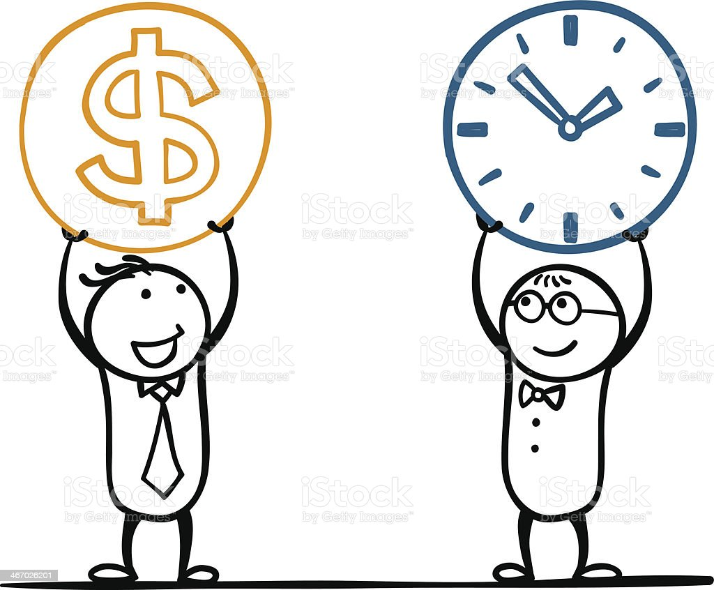 Doodles of two guys holding up a clock and money royalty-free stock vector art