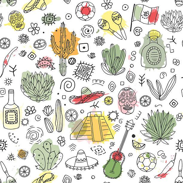 bildbanksillustrationer, clip art samt tecknat material och ikoner med doodles seamless pattern of mexico with imitation  watercolor. - cactus lime