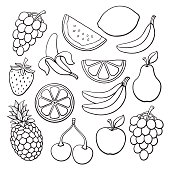 Doodles set of fruits and berries