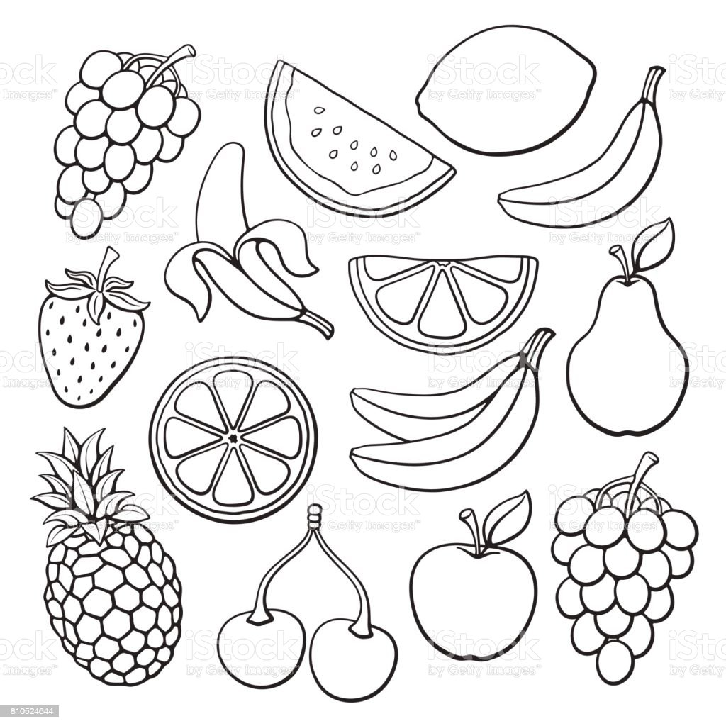Doodles set of fruits and berries vector art illustration