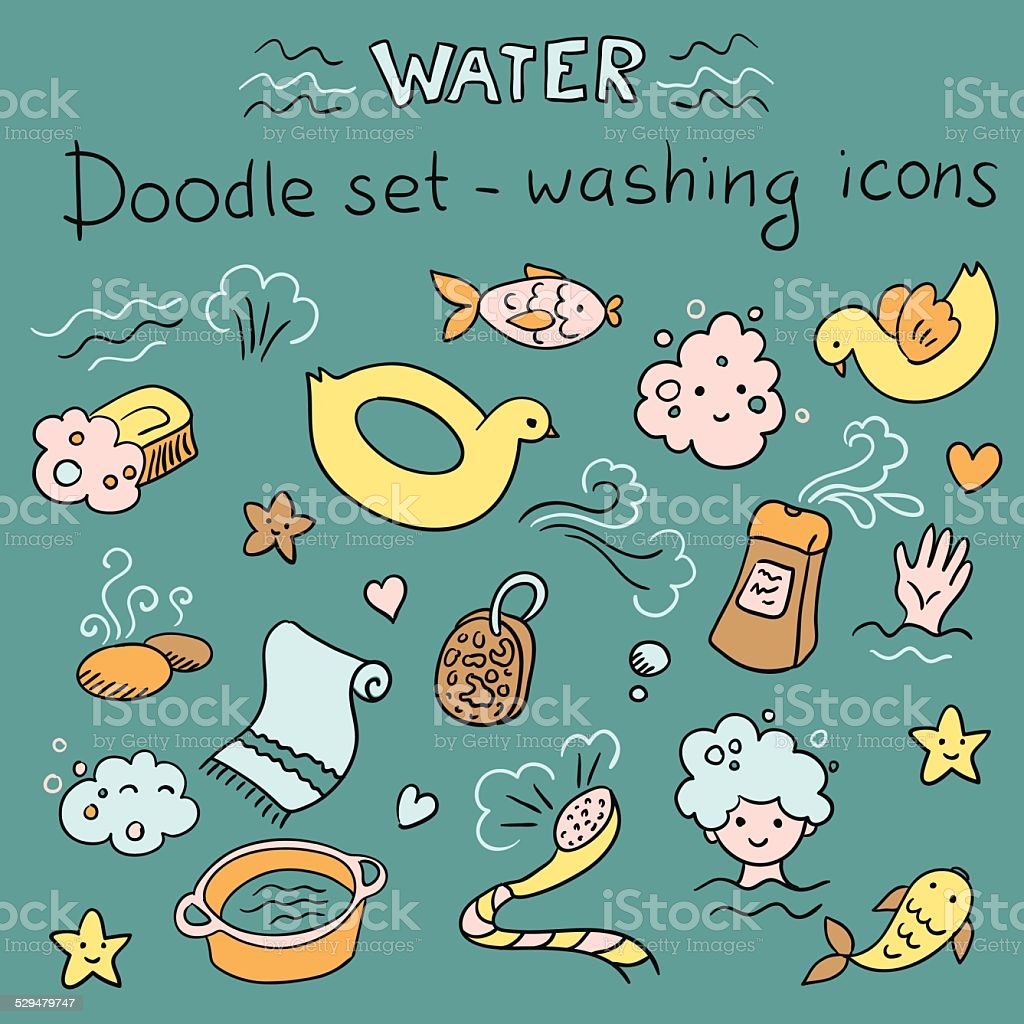 Doodles set - washing icons (vector) vector art illustration