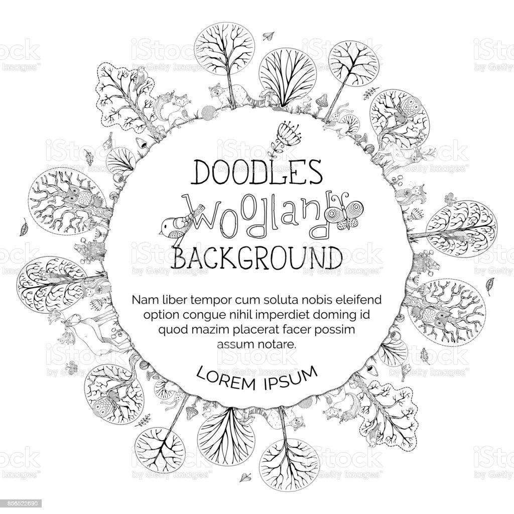Doodles woodland background. vector art illustration