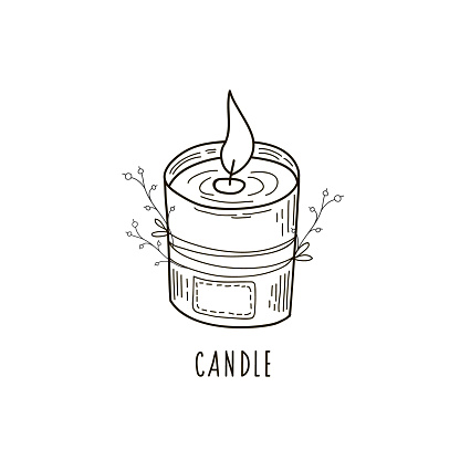 A doodle-style candle drawing. Vector illustration by the hand of candle aroma.
