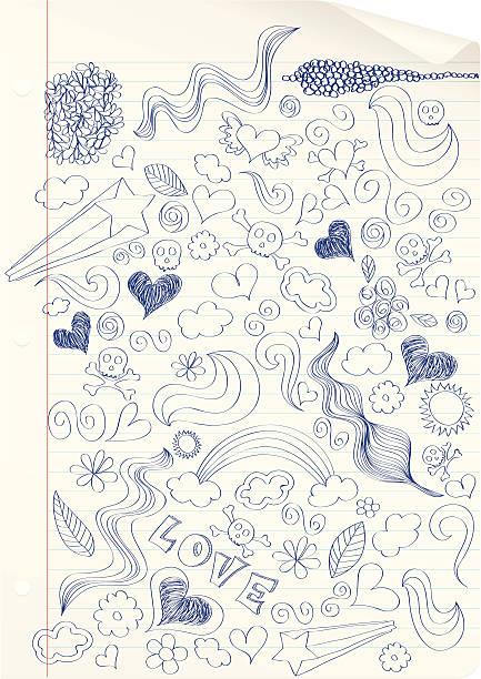 Doodling at school. vector art illustration