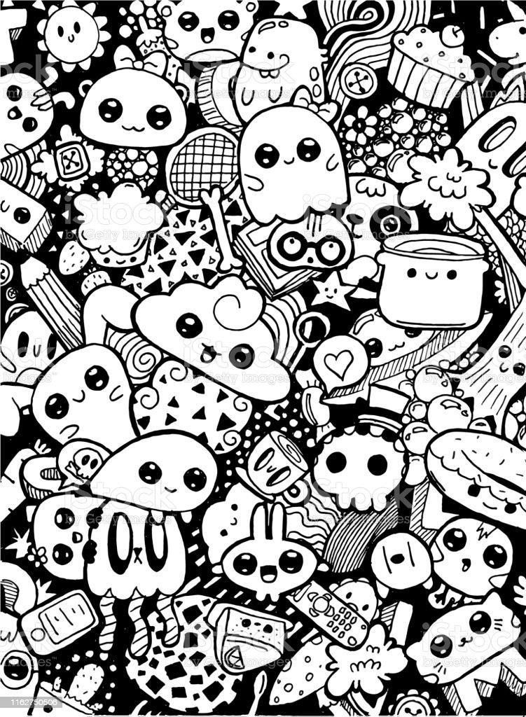 Doodling Cute Kawaii Cartoon Characters Black And White Coloring