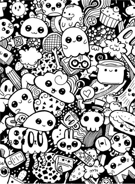 doodling niedlichkawaii zeichentrickfiguren. schwarz-weiß färbung - surreal stock-grafiken, -clipart, -cartoons und -symbole