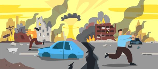 Doomsday city apocalyptic ruins cartoon vector illustration. Damage buildings and explosion