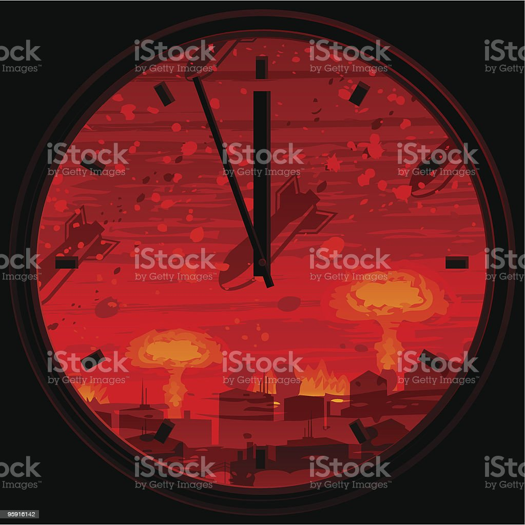 Doomsday clock showing 3 minutes to midnight vector art illustration