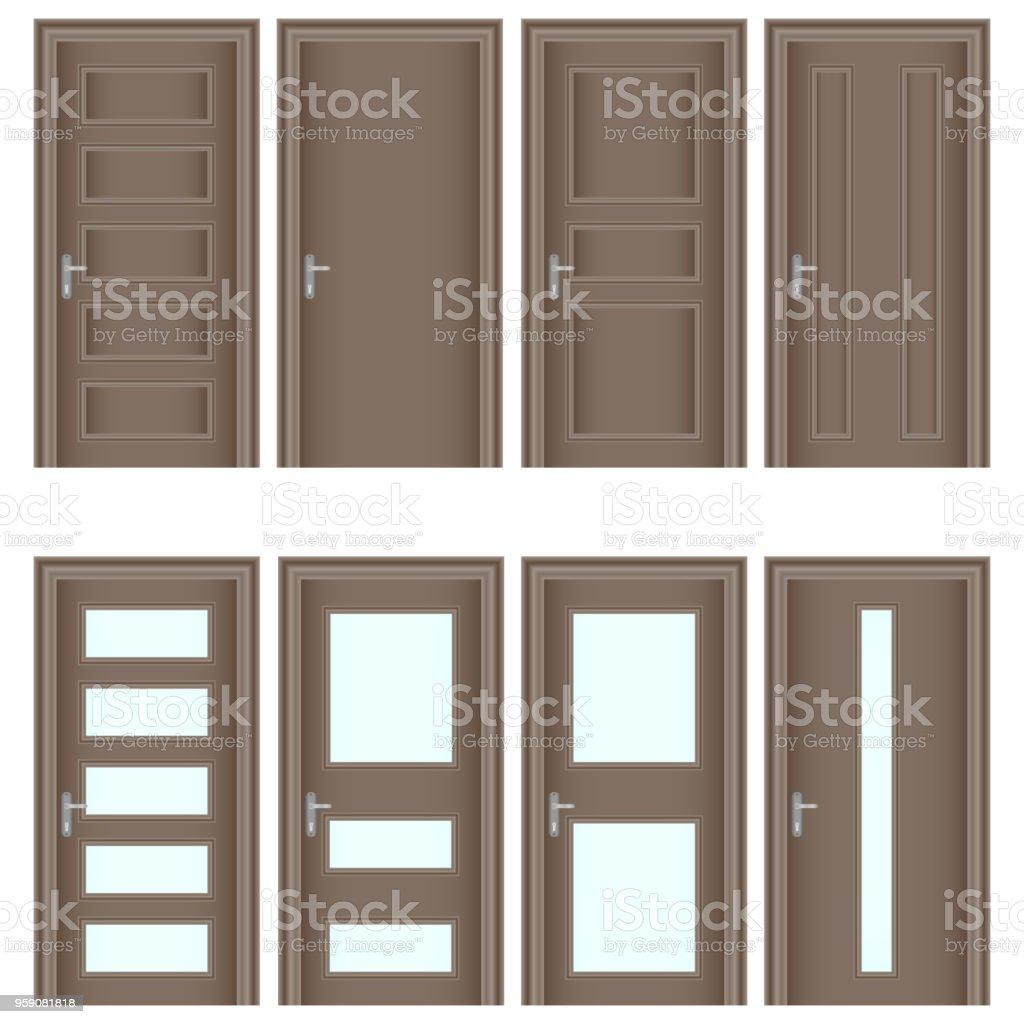 Door A Set Of Realistic Brown Doors Entrance Doors With Glass Stock