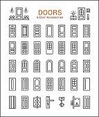Door and accessories. Line icon set