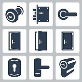 Door and accessory equipment vetor icons set