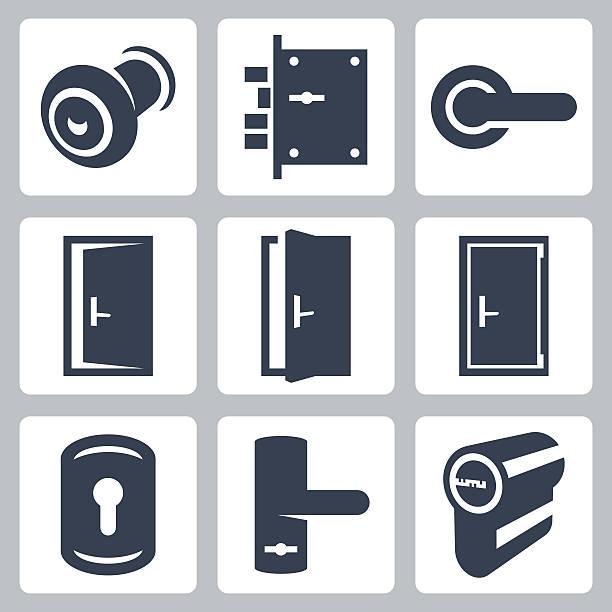 Door and accessory equipment vetor icons set Door and accessory equipment vetor icons set handle stock illustrations