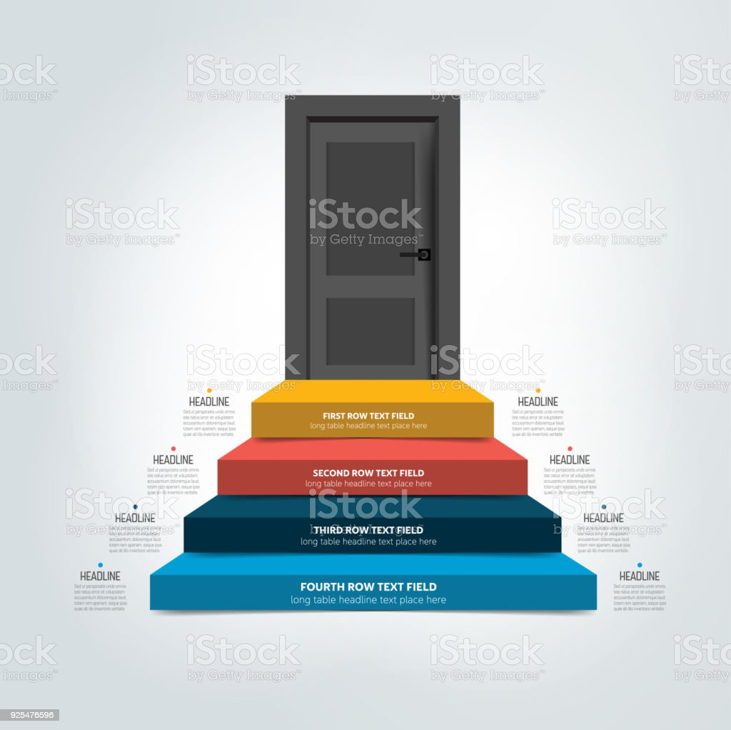 door and stairs infographic, diagram, scheme, chart, template  royalty-free