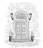 Door background. House door entrance engraving illustration.
