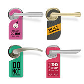 istock Door handle. Do not disturb hotel room signs vector tags set 1208756599
