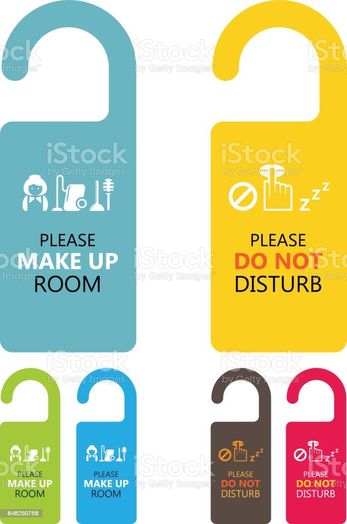 Door handle hanging tag with text please make up room and do not disturb vector art illustration
