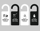 Vector of door handle hanging tag with text please make up room and do not disturb. EPS Ai 10 file format.