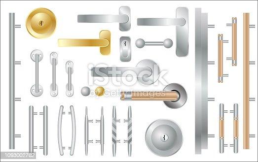 Door Handles Set Isolated on White. Window and Door Accessories. Vector Illustration.