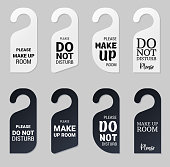 istock Door hangers for hotel room. Set of white and black label hanger with text for hotel or resort. Template, mockup with text Do not disturb and Make up room. Vector illustration for promotion, sale, decoration, covering 1276356925