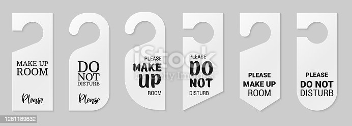 istock Door hangers for hotel room. Set of white label hanger with text for hotel or resort. Template, mockup with text Do not disturb and Make up room. Vector illustration for promotion, sale, decoration, covering 1281189832